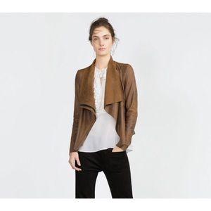 ✨ Zara | Faux Suede Waterfall Jacket
